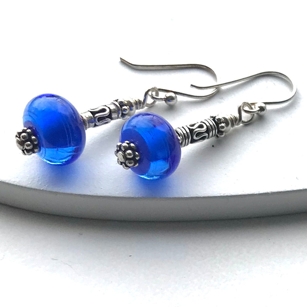 Sterling Silver Handmade Lamp Work Earrings