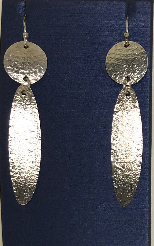 Sterling Silver Handmade Long Disc Earrings