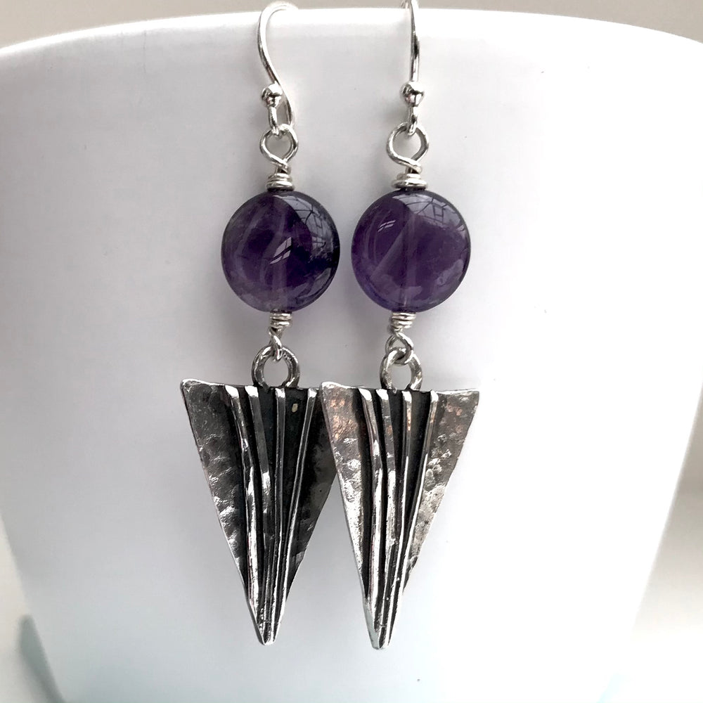 Sterling Silver Handmade Amethyst Earrings