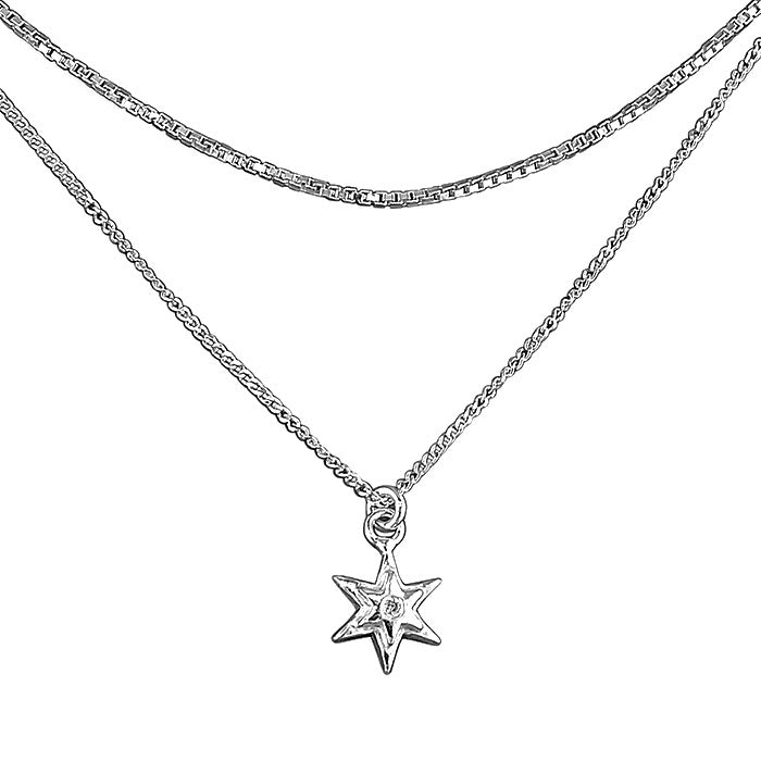 Sterling silver Double Chain Star Necklace