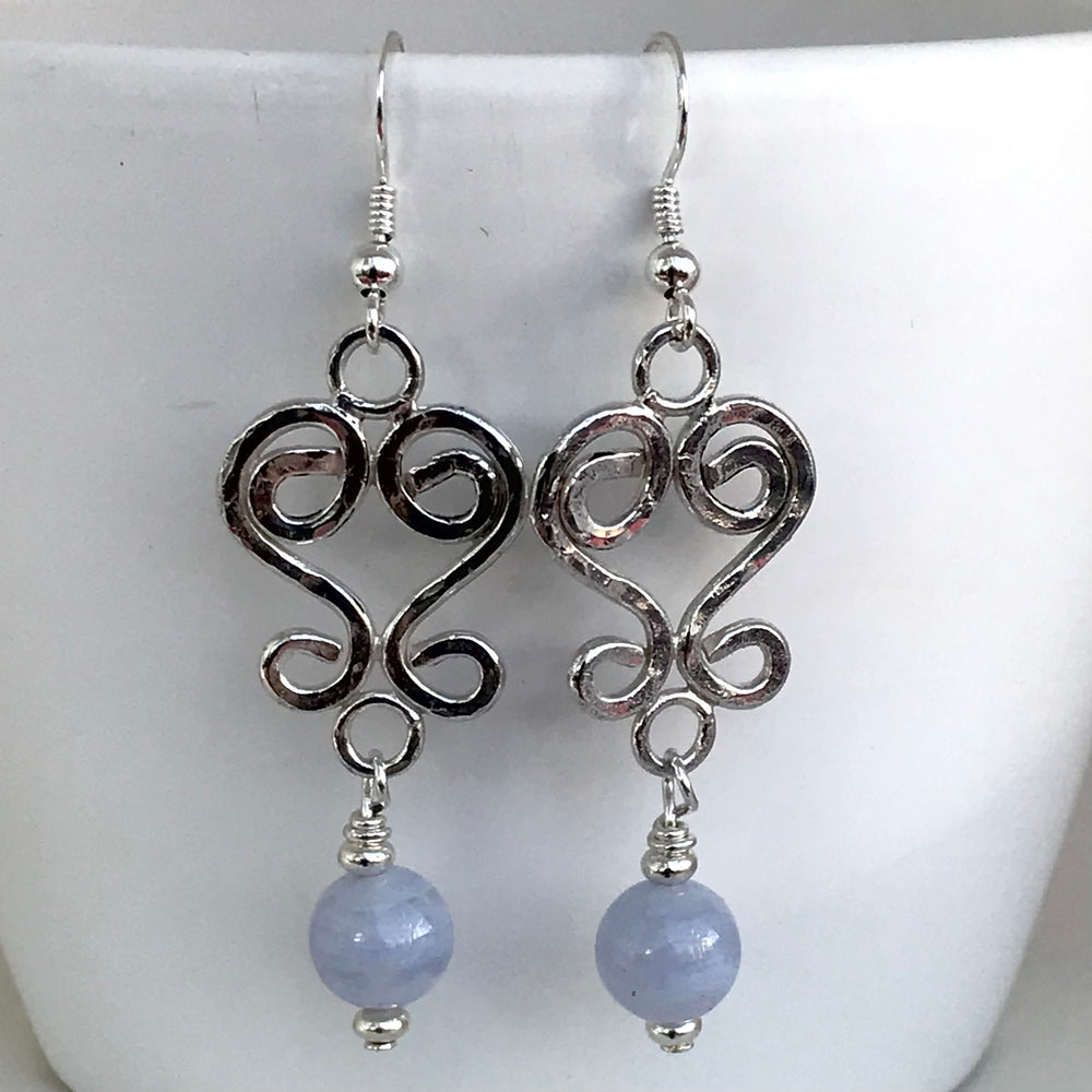 Sterling Silver Long Drop Blue Agate Earrings