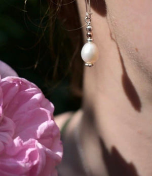 Sterling Silver Handmade Pearl Drop Earrings