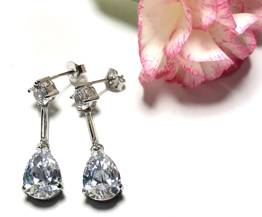 Sterling silver sparkle cubic zirconia earrings