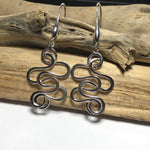 Sterling silver Long Drop Swirl Earrings