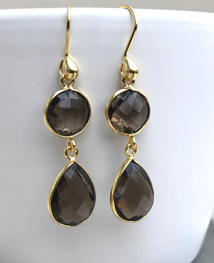 Sterling Silver Smoky Quartz Gold Vermeil Earrings