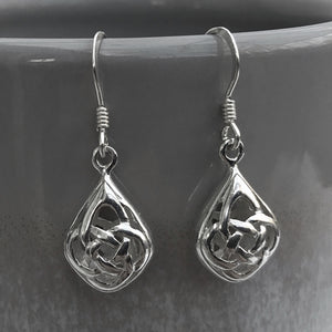 Sterling silver celtic drop earrings