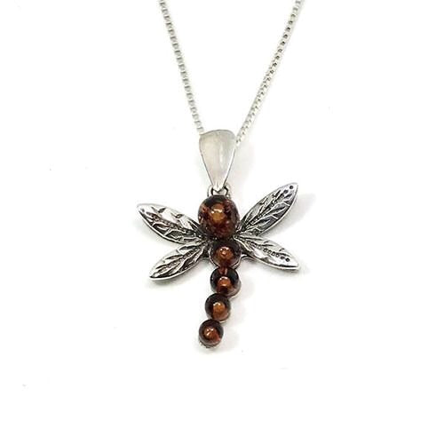 Sterling Silver Amber Dragonfly Necklace