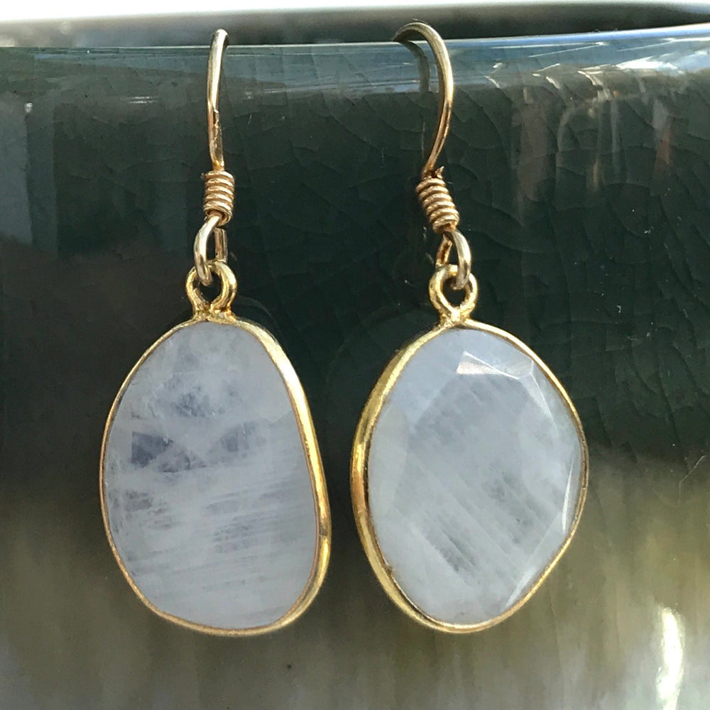 Sterling Silver Gold Vermeil Moonstone Earrings