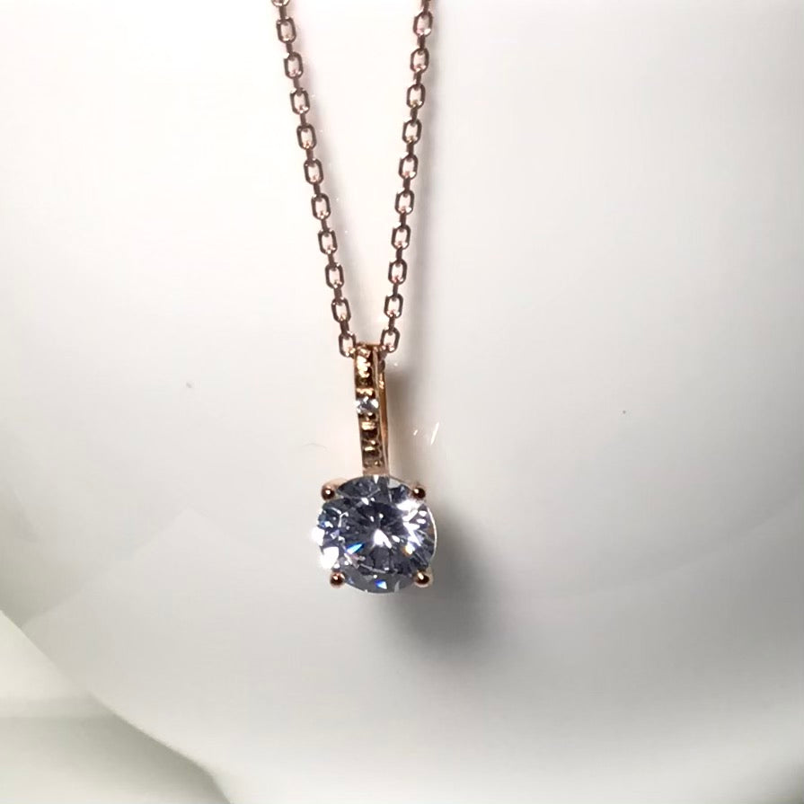 Sterling Silver Rose Gold Plated Solitaire Necklace