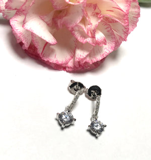 Sterling silver sparkle cubic zirconia stone earrings