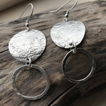 Handmade Sterling Silver Textured Round Drop Earrings