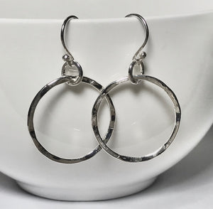 Sterling silver Dangle hammered Hoop Earrings