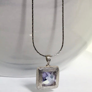 Sterling Silver Lilac Stone Necklace