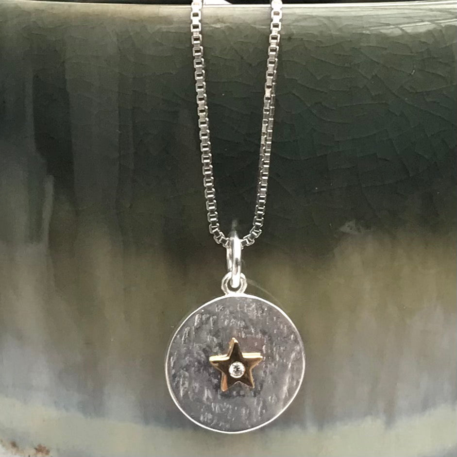 Sterling Silver Gold Star Necklace
