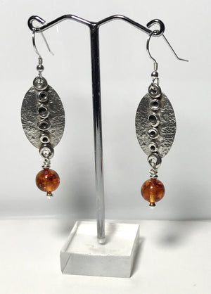 Sterling Silver Handmade Amber Earrings