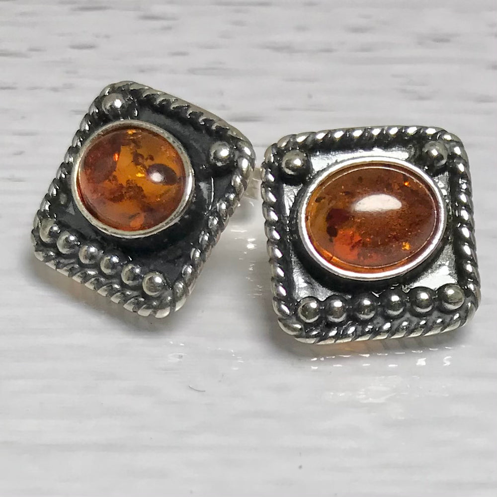 Sterling Silver Amber Stud Earrings