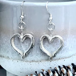 Sterling silver handmade heart earrings