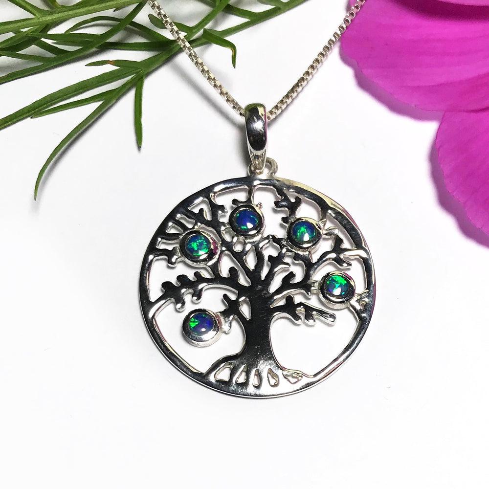 Sterling Silver Opal Tree Of Life Necklace