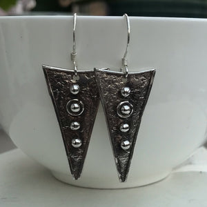 Sterling Silver Handmade Triangular Earrings