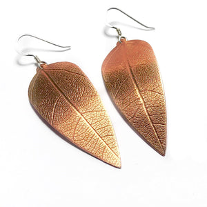 Handmade Copper Leaf Earrings