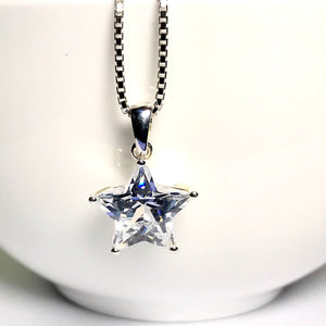 Sterling Silver Sparkly Star Necklace