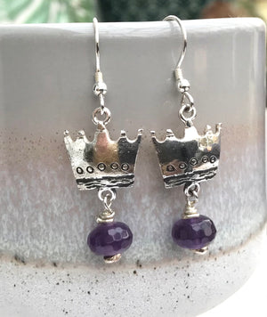 Sterling Silver Quirky Crown Earrings