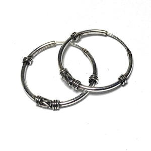 Sterling Silver Bali Tribal Hoop Earrings