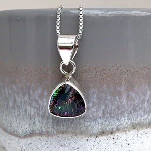 Sterling Silver Triangular Mystic Topaz Necklace