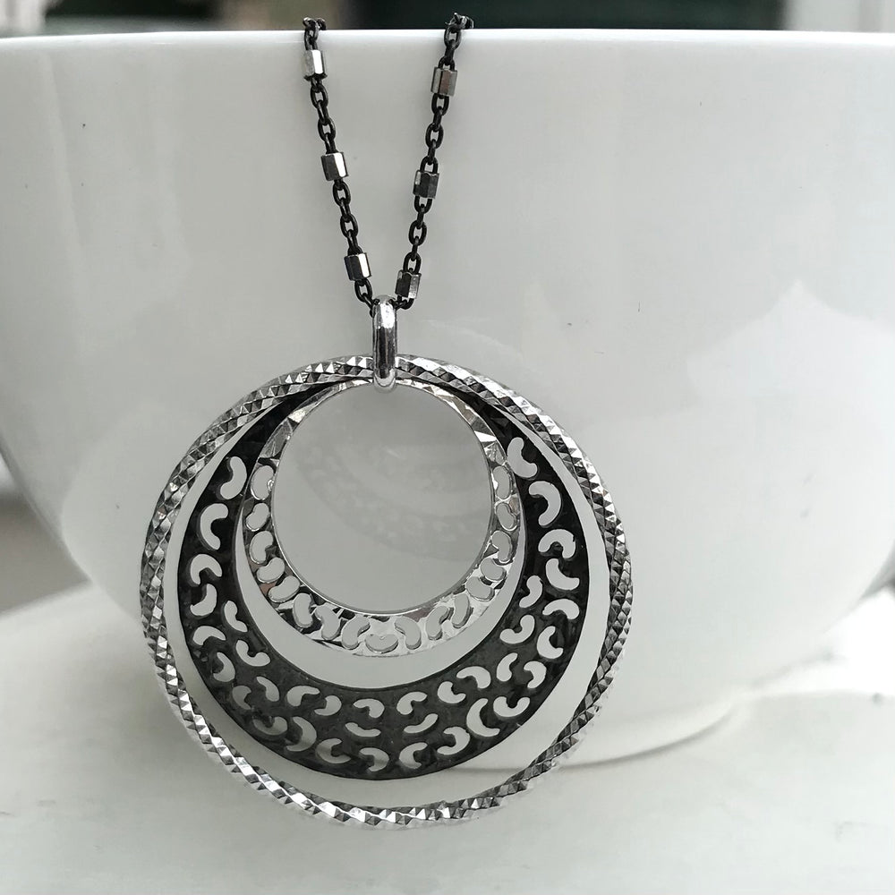 Sterling Silver Circled Patterned Necklace