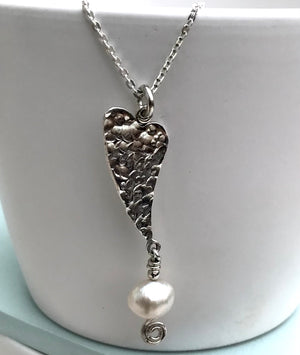 Sterling Silver Handmade Heart Pearl Necklace