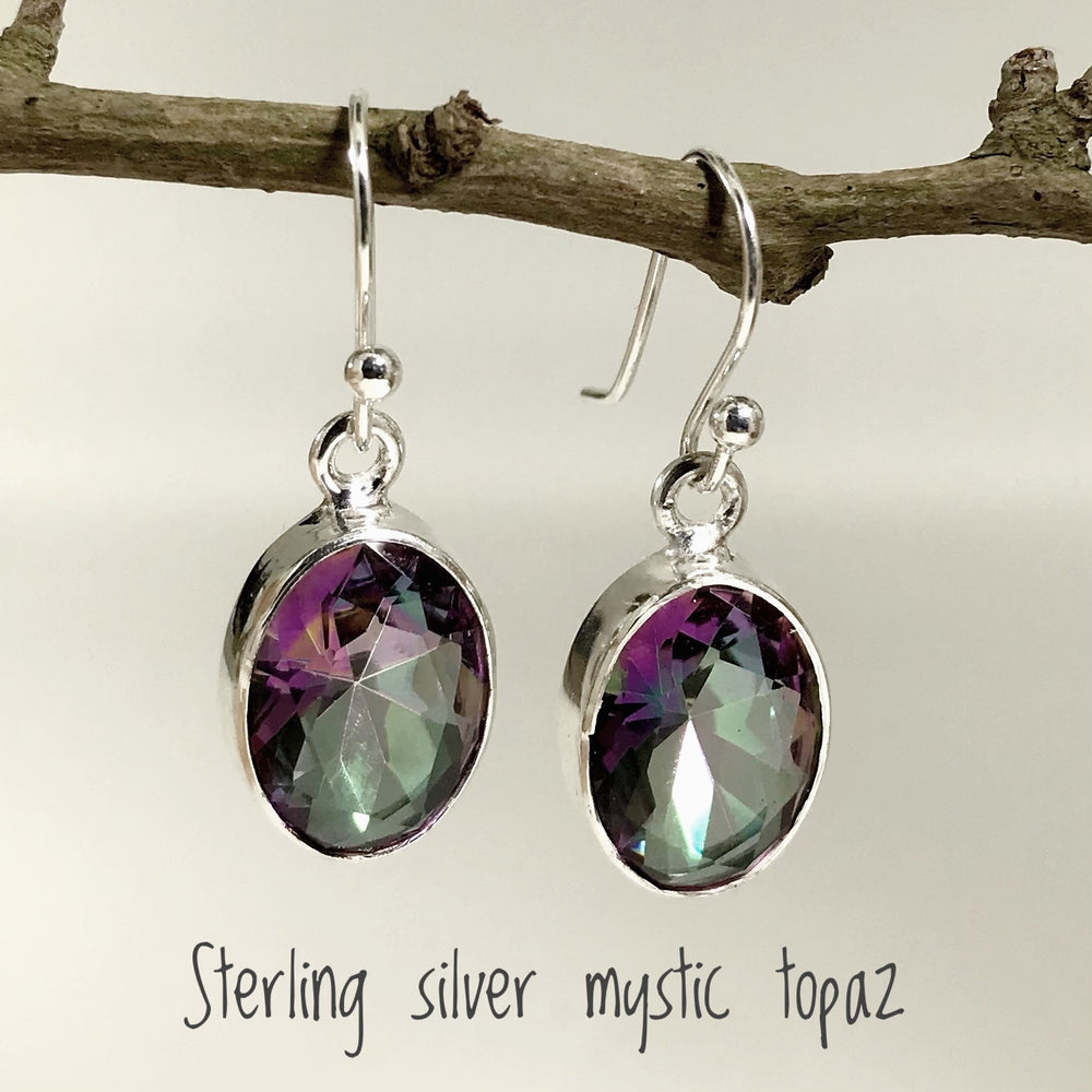 Sterling Silver Mystic Topaz Stone Earrings