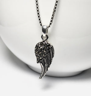 Sterling Silver Marcasite Angel Wing Necklace