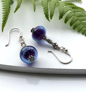 Handmade Lampwork Silver Earrings