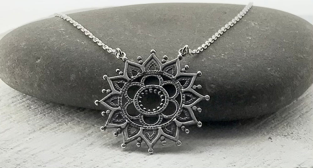 Sterling Silver Henna Design Necklace