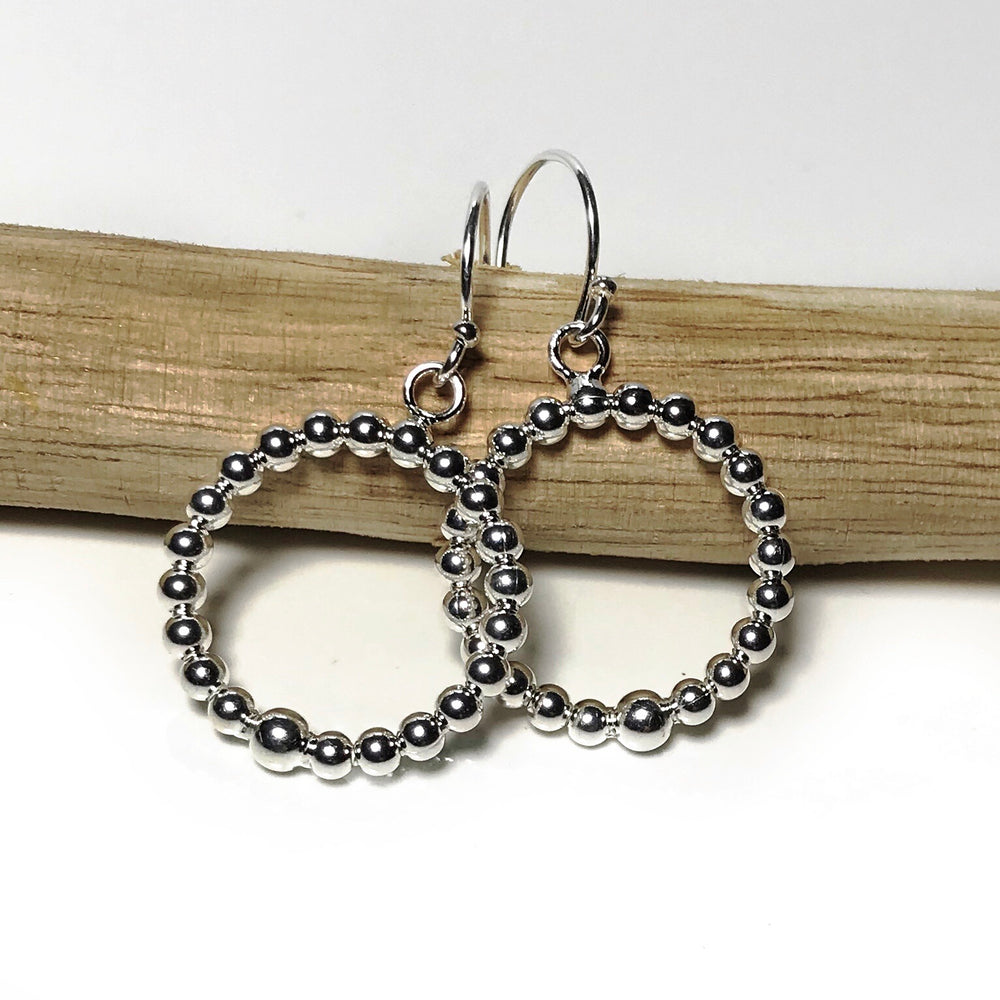 Sterling Silver Hoop Beaded Earrings