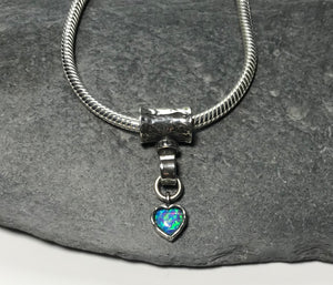 Sterling silver necklace with blue opal dropper