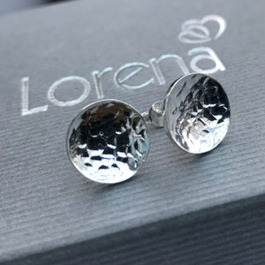 Sterling Silver Round Hammered Stud Earrings