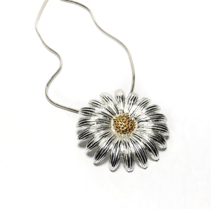 Sterling silver large daisy necklace