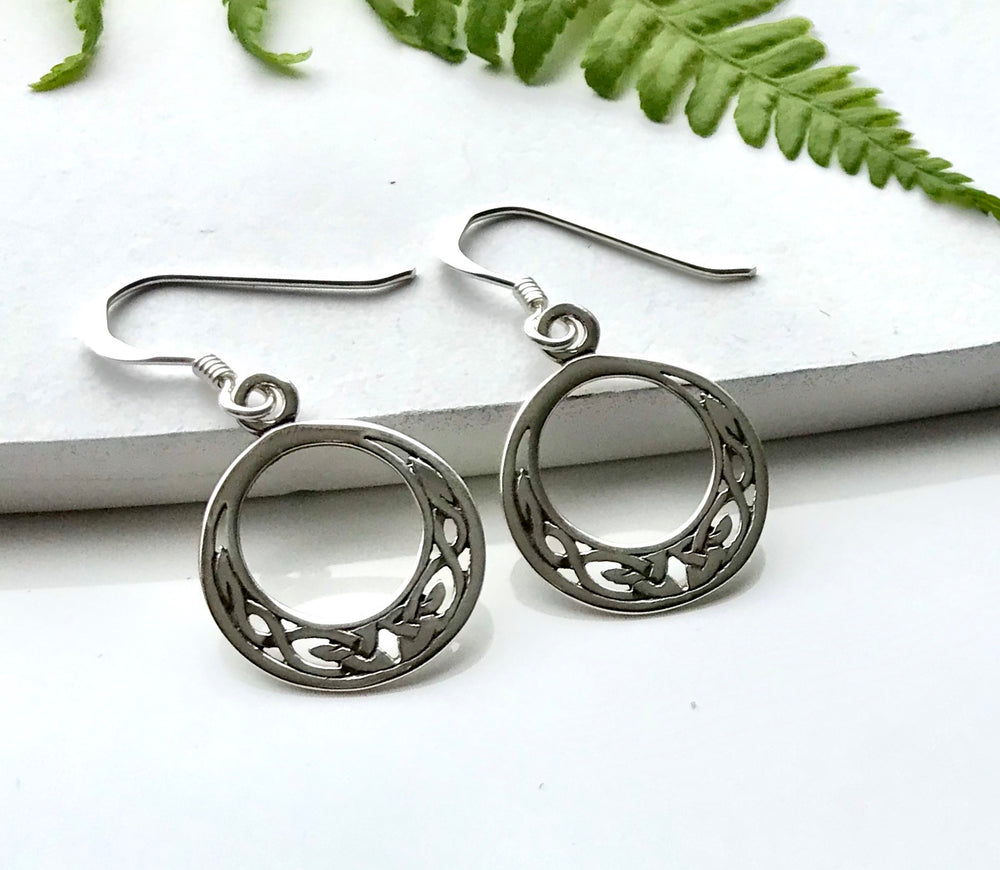 Circular Celtic Sterling Silver Earrings
