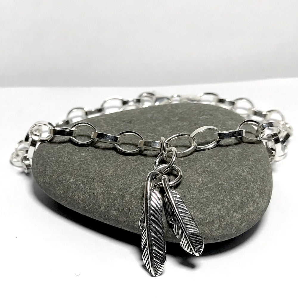 Sterling Silver Feather Charm Bracelet