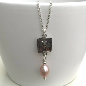 Handmade Silver Heart Pearl Necklace