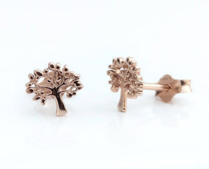 Sterling Silver Rose Gold Plated Tree Earrings