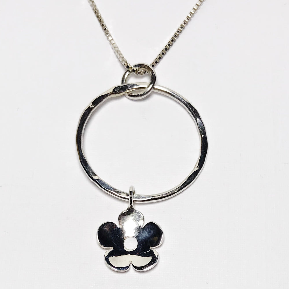 Sterling Silver Flower Drop Necklace