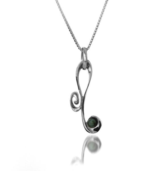 Sterling silver curl and pearl necklace by Lorena Silver Jewellery Necklaces