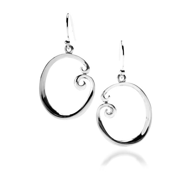 Sterling silver curl design large earrings by Lorena Silver Jewellery Contempoary Earrings