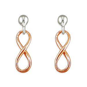 Sterling silver infinity design with rose gold plate earrings by Lorena Silver Jewellery Silver earrings