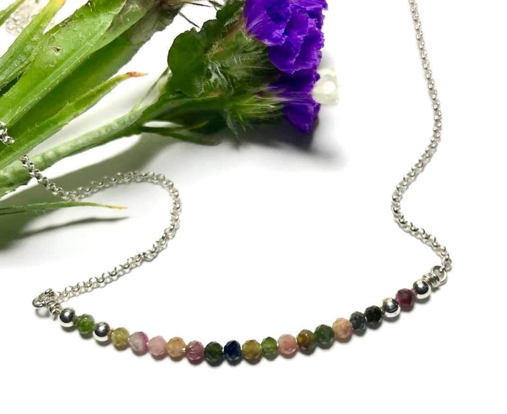 Handmade Sterling Silver Necklace with Tourmaline Stones.