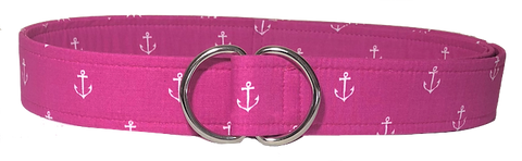 Pink and white anchor D Ring belt by oliver green belts