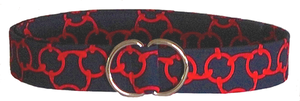 Navy Blue and Red Geometric Fabric D-Ring Belt Style Karen
