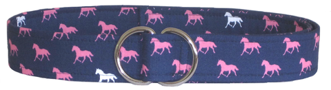 Navy Blue and Pink Horse Belt by Oliver Green